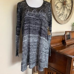 NWT One World Size 1X Open Sleeve Gray Sweater